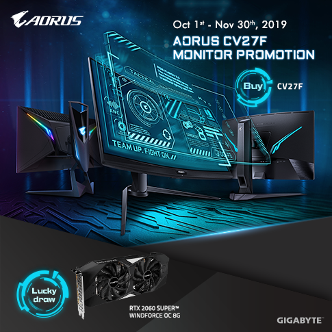 Purchase AORUS CV27F have a chance to win GeForce® RTX 2060 SUPER™ WINDFORCE OC 8G