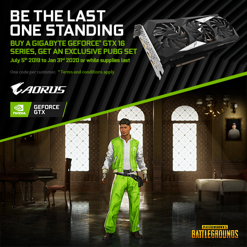 【APAC】Buy a Qualifying GIGABYTE GTX 1660 Ti, 1660 Super or 1660 or 1650 Graphics Card, and get an exclusive GeForce PUBG in-game code